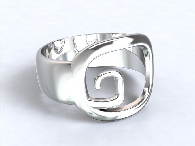 Stříbrný prsten hranatá spirála 307501
