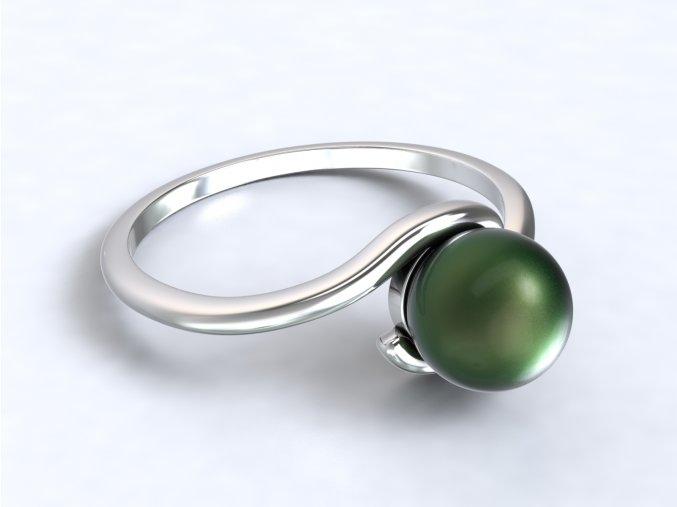 Stříbrný prsten s perlou 308801