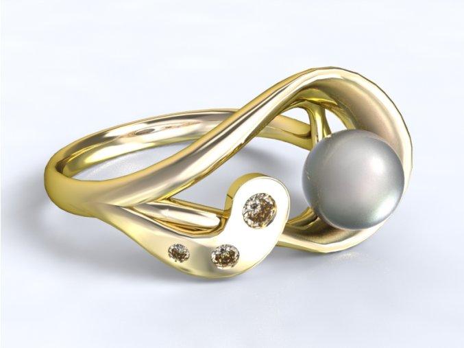 Zlatý prsten s kameny a perlou 1303701