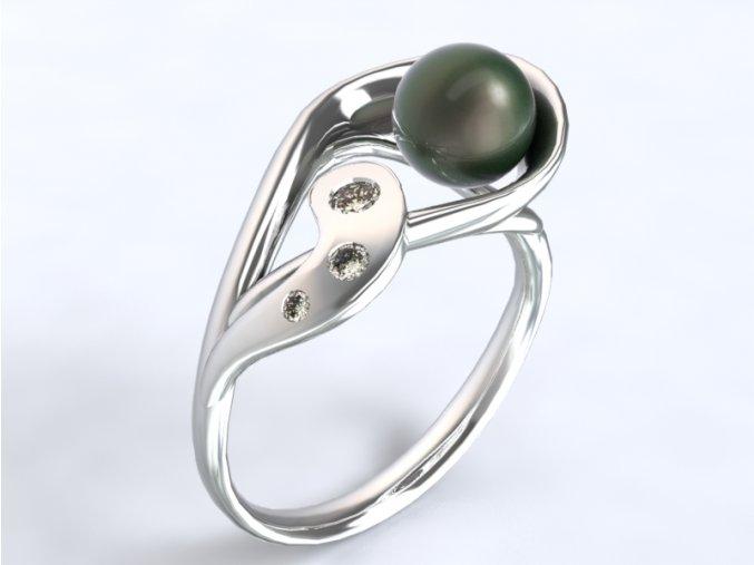 Au 585/1000 Zlatý prsten s kameny a perlou
