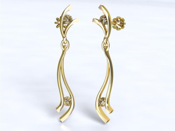 Zlaté náušnice šroubek s kameny 121101