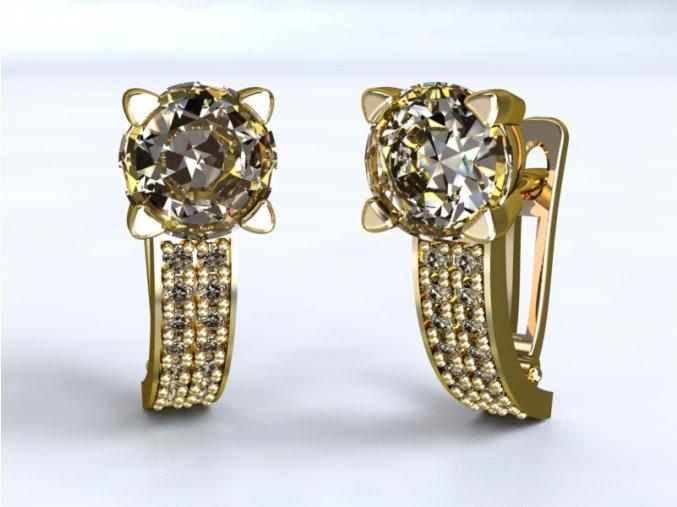 Zlaté náušnice patent s kameny 1201501