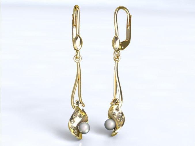Zlaté náušnice listy s perlou 1201701