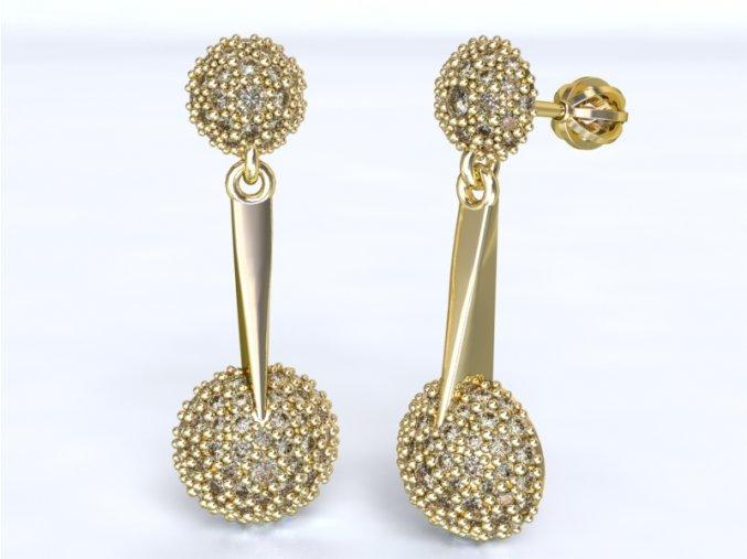 Zlaté náušnice dvě kuličky 1202301