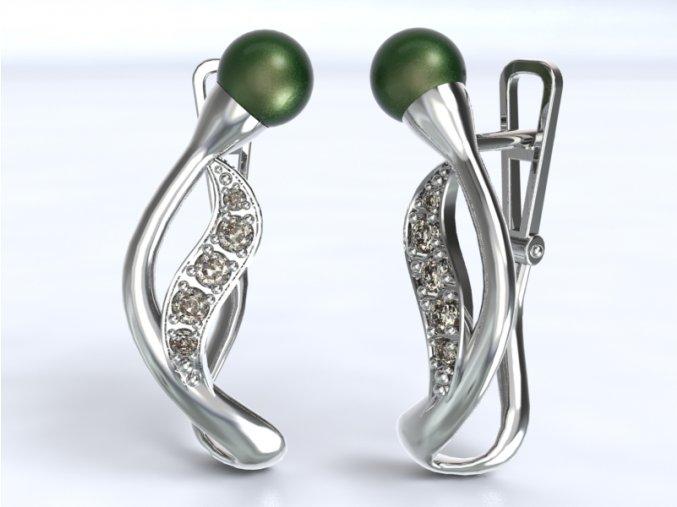 Zlaté náušnice patent s kameny a perlou