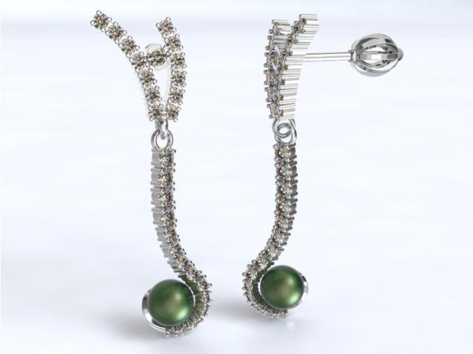 Zlaté náušnice šroubek s kameny a perlou