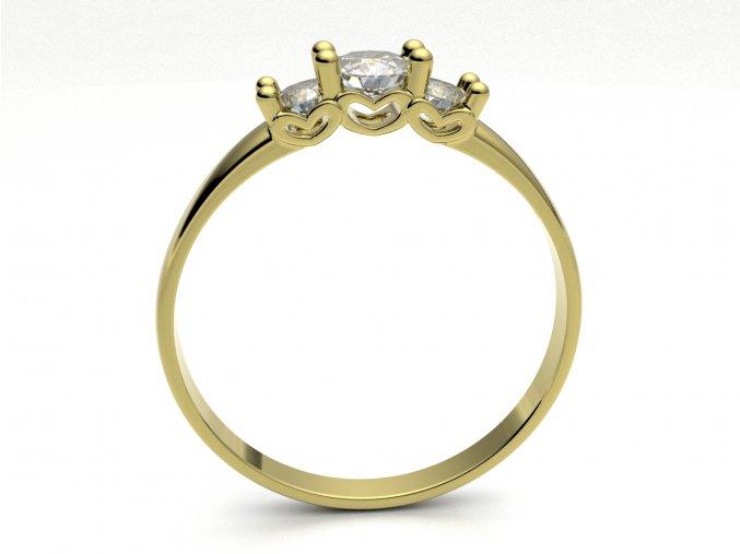Zlatý prsten srdíčka z boku 2300901