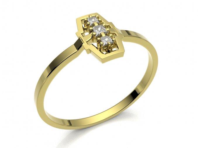 Zlatý zásnubní prsten do soupravy se snubním 2302501