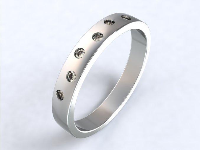 Prsten sedm zirkonů stříbrný 312401