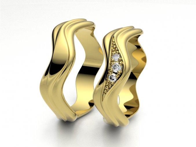 Žluté Au585 snubní prsteny 3300202