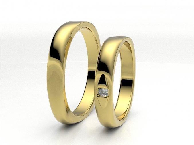 Žluté Au585 snubní prsteny 3300302