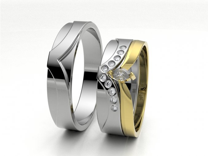 Bílé Au585 skládací snubní prsteny 3300501