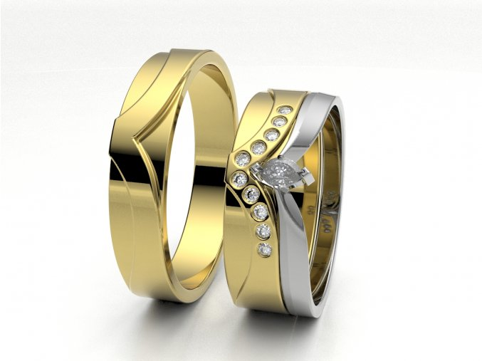 Žluté Au585 skládací snubní prsteny 3300502