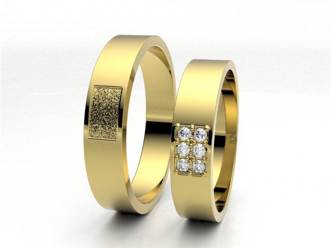 Žluté Au585 snubní prsteny 3301002