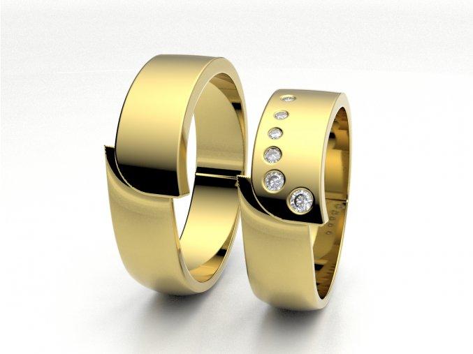 Žluté Au585 snubní prsteny 3301202