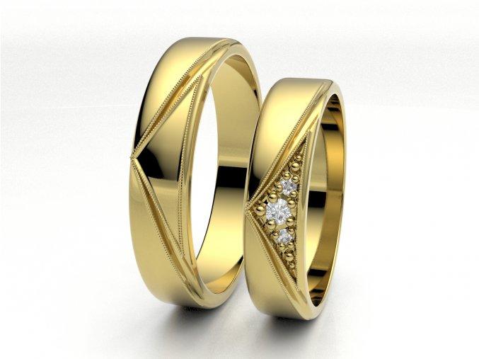Žluté Au585 snubní prsteny 3301602