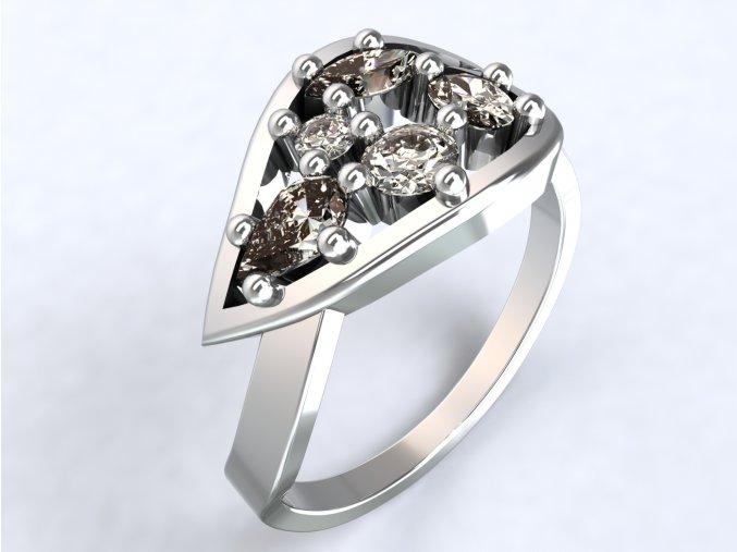 Stříbrný prsten list