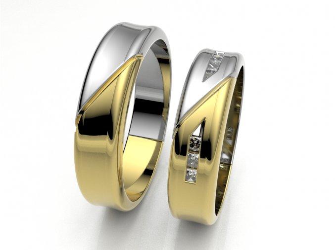 Au585 snubní prsteny dvojbarevné žlutobílé 3301503