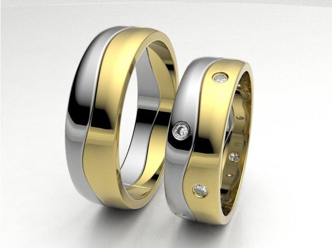 Dvojbarevné snubní prsteny 3302003