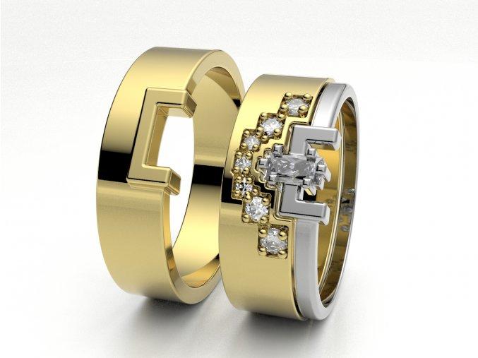 Žluté Au585 snubní prsteny 3302102
