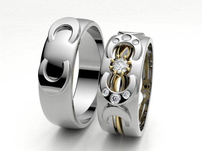 Skládací snubní prsteny bílé zlato 3302201