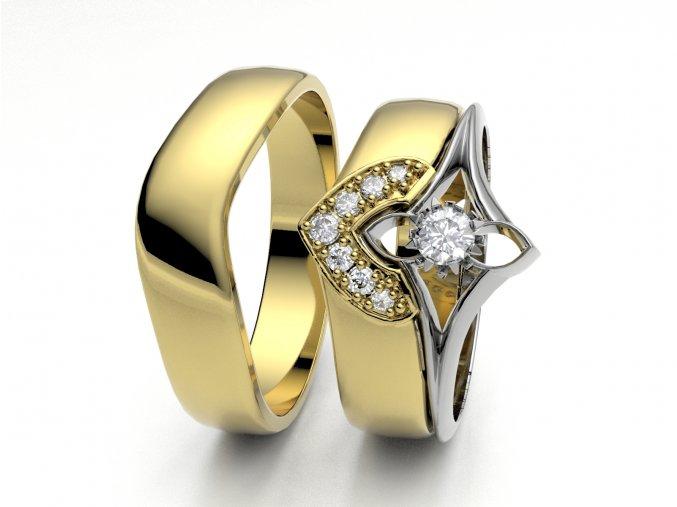 Skládací snubní prsteny žluté zlato 3302302