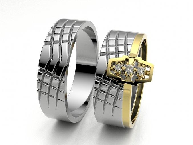 Skládací snubní prsteny bílé zlato 3302501