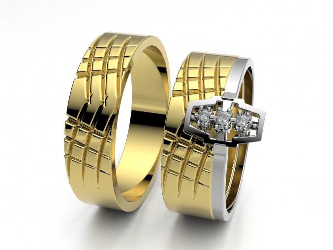 Skládací snubní prsteny žluté zlato 3302502