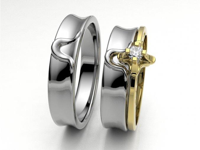 Skládací snubní prsteny bílé zlato 3302701