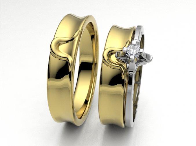 Skládací snubní prsteny žluté zlato 3302702
