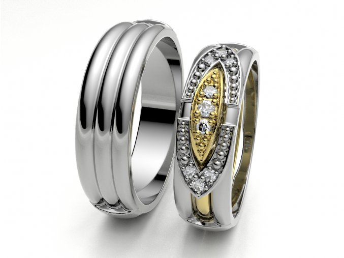 Skládací snubní prsteny bílé zlato 3303001