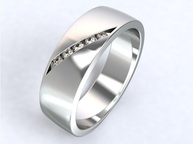 Ag925 prsten zirkony šikmo