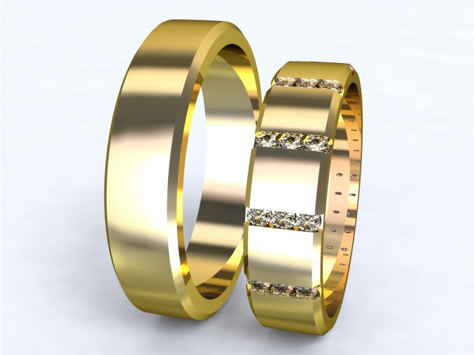 Žluté Au585 snubní prsteny 3304102