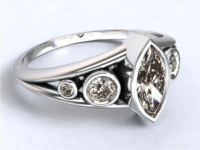 Stříbrný prsten zirkon naveta rozšířený