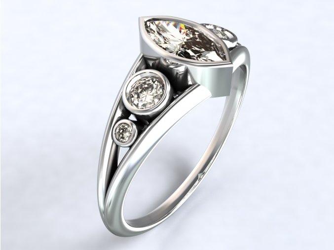 Ag925 prsten zirkon naveta a kulaté