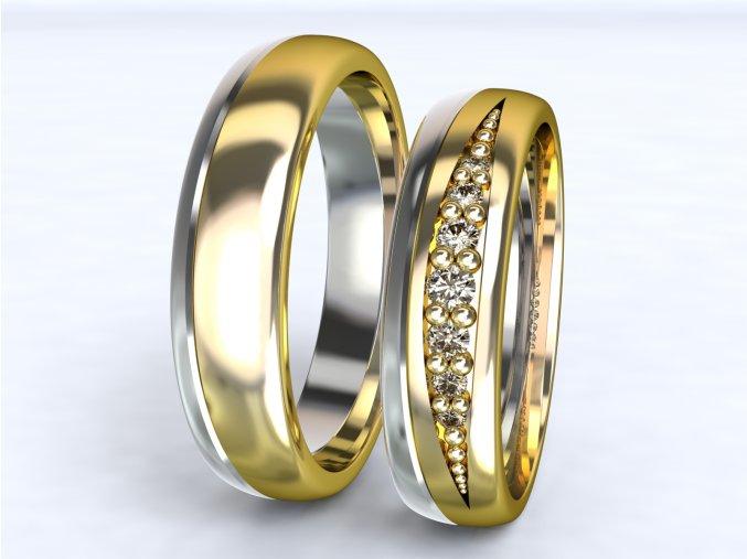 Au585 snubní prsteny dvojbarevné žlutobílé 3305203