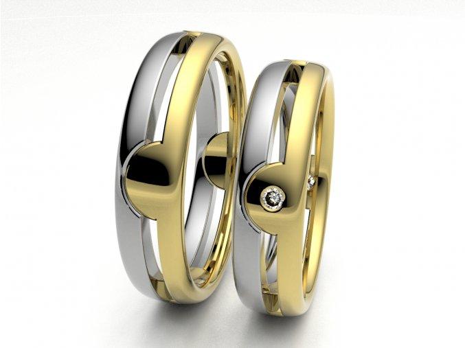 Au585 snubní prsteny dvojbarevné žlutobílé 3305703