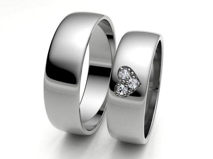 Bílé Au585 snubní prsteny 3306201