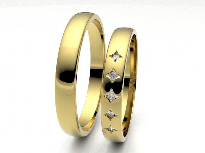 Žluté Au585 snubní prsteny 3306302