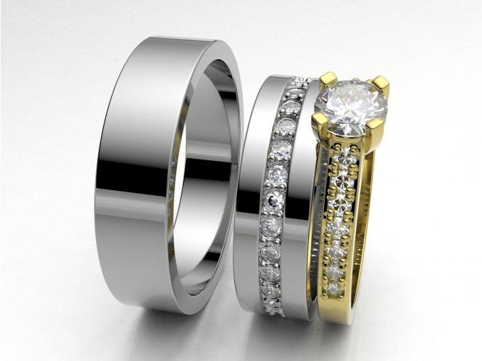 Bílé Au585 snubní prsteny 3306401