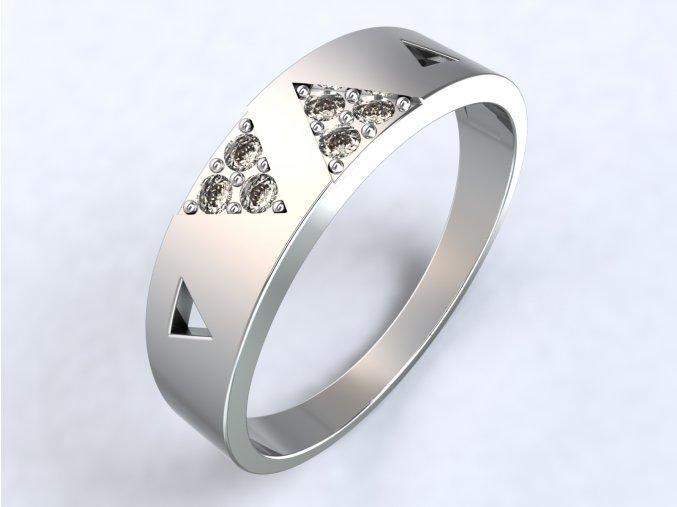 Stříbrný prsten dva trojúhelníky