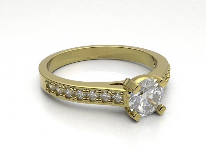 Zlatý zásnubní prsten do soupravy se snubním 1304101