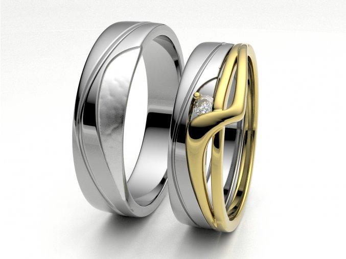 Skládací snubní prsteny bílé zlato 3306801