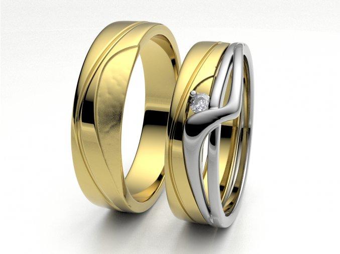 Skládací snubní prsteny žluté zlato 3306802