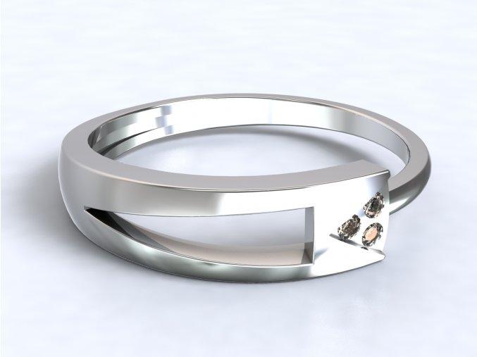 Stříbrný prsten trojúhelník s drážkou