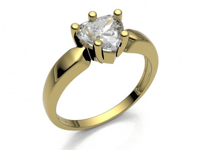 Zlatý prsten se srdcem 8x8 mm 2304301