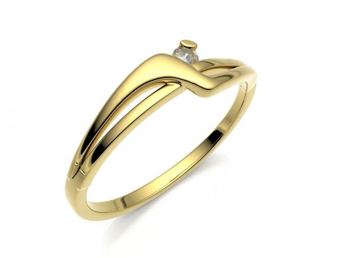 Zlatý zásnubní prsten do soupravy se snubním 2306801