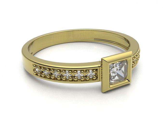 Zlatý zásnubní prsten do soupravy se snubním 1304701