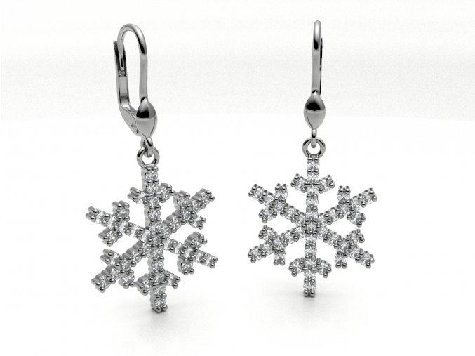 Stříbrné náušnice sněhové vločky