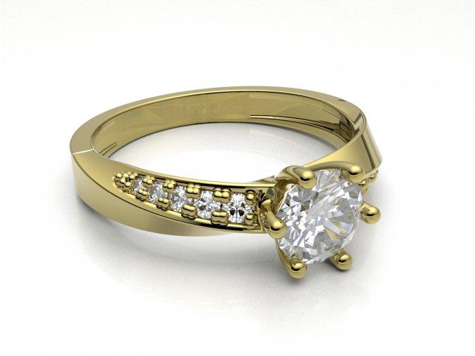 Zlatý zásnubní prsten do soupravy se snubním 991307601